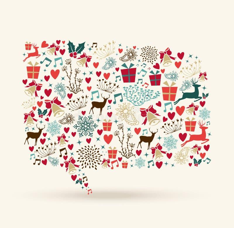 La Navidad colorea forma social de la burbuja de los iconos medios stock de ilustración