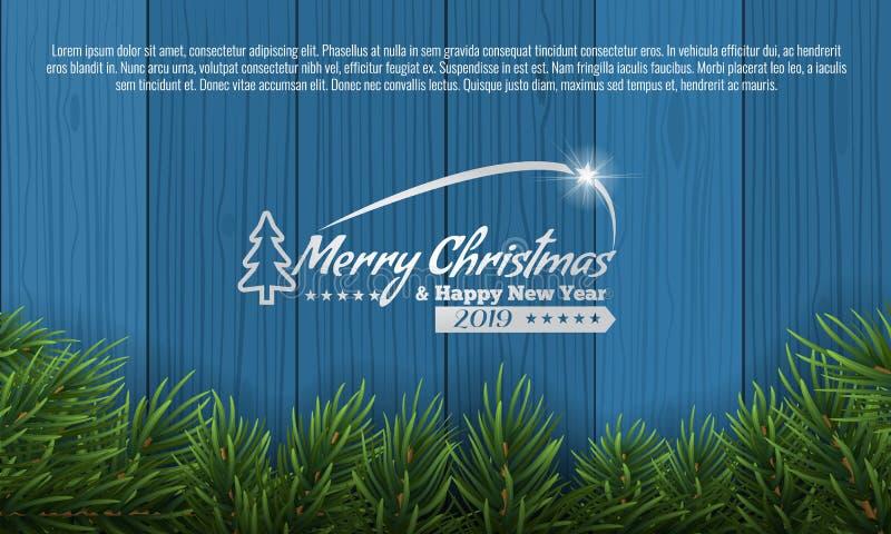 La Navidad con el marco de la frontera de la rama del abeto en parte inferior del fondo de madera azul Ejemplo del vector para la stock de ilustración
