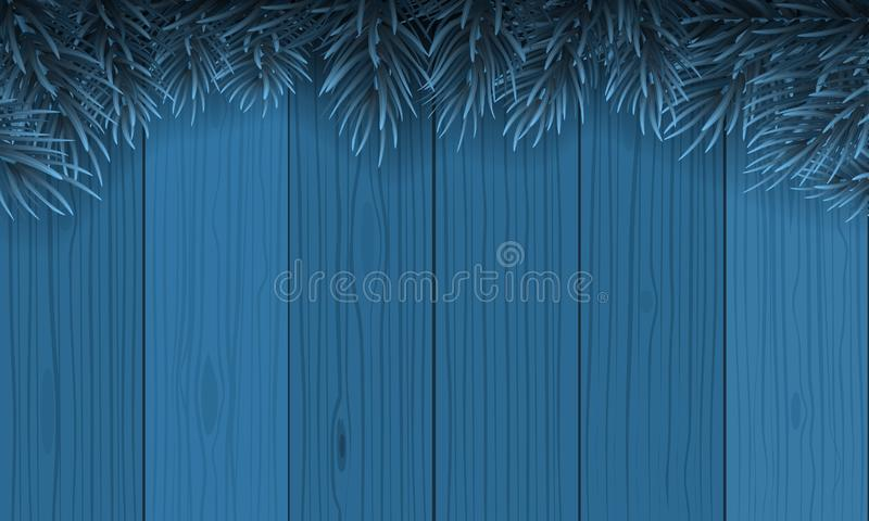 La Navidad con el marco de la frontera de la rama del abeto encima del fondo de madera azul Ejemplo del vector para la tarjeta de ilustración del vector
