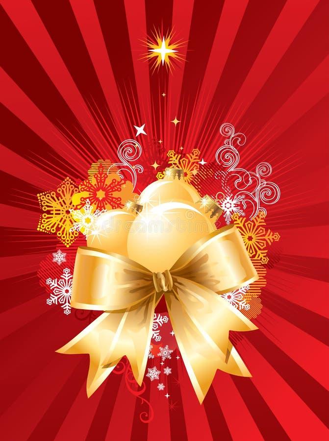 La Navidad con las decoraciones y el arqueamiento/el vector stock de ilustración