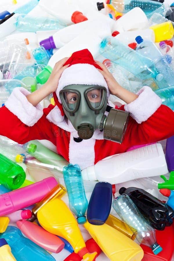 La Navidad contaminada plástico fotos de archivo