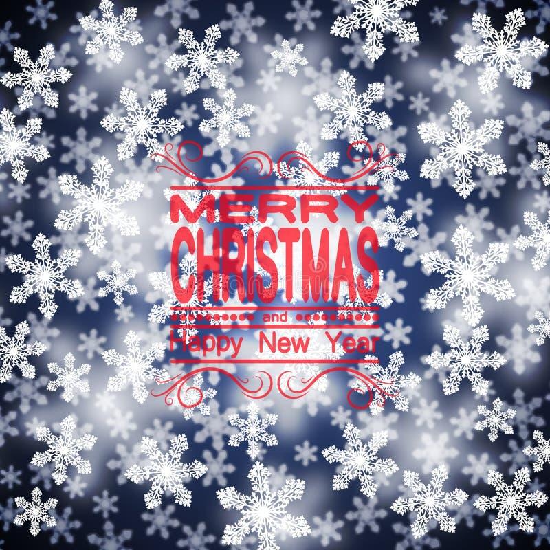 La Navidad Copos de nieve con un efecto de concentración Una plantilla para el diseño ilustración del vector