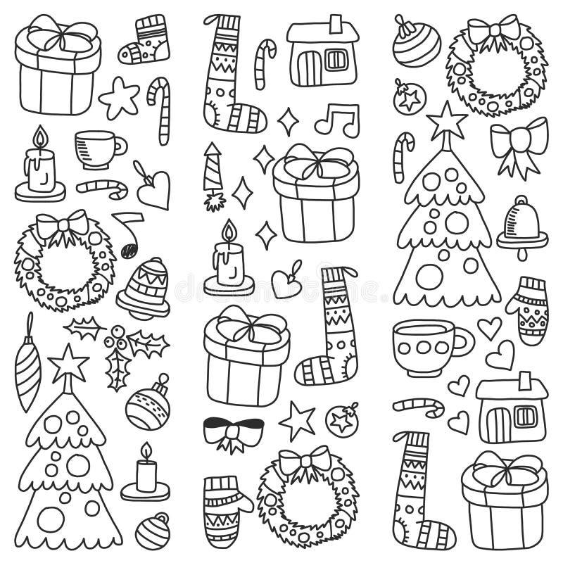 La Navidad, día de fiesta, invierno, ejemplo del vector El modelo del Año Nuevo, los dibujos de los niños con un profesor, marco libre illustration