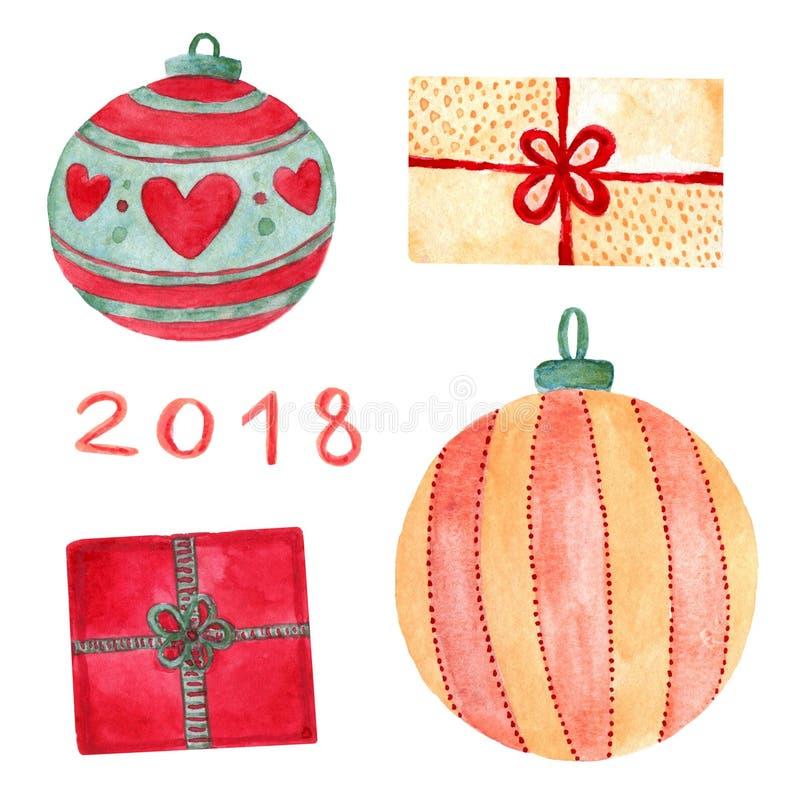 La Navidad de la acuarela fijada con las decoraciones del día de fiesta Bolas del Año Nuevo e impresiones de los regalos imagen de archivo