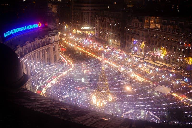 La Navidad de Bucarest justa del cuadrado de Universitatii fotografía de archivo