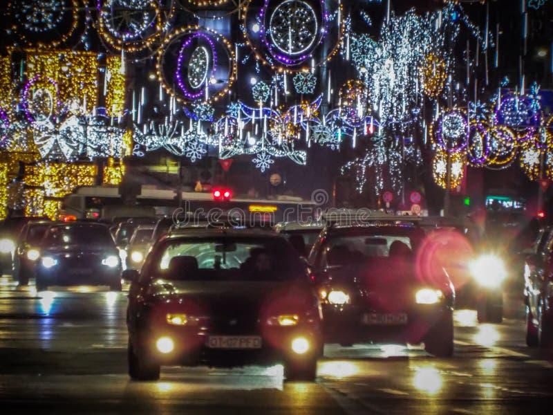 La Navidad de Bucarest que enciende 2016 fotografía de archivo libre de regalías