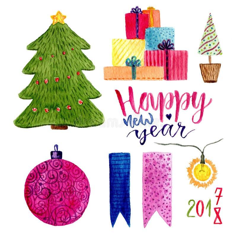 La Navidad de la acuarela fijada con las decoraciones del día de fiesta El árbol del Año Nuevo, los regalos y la otra decoración stock de ilustración