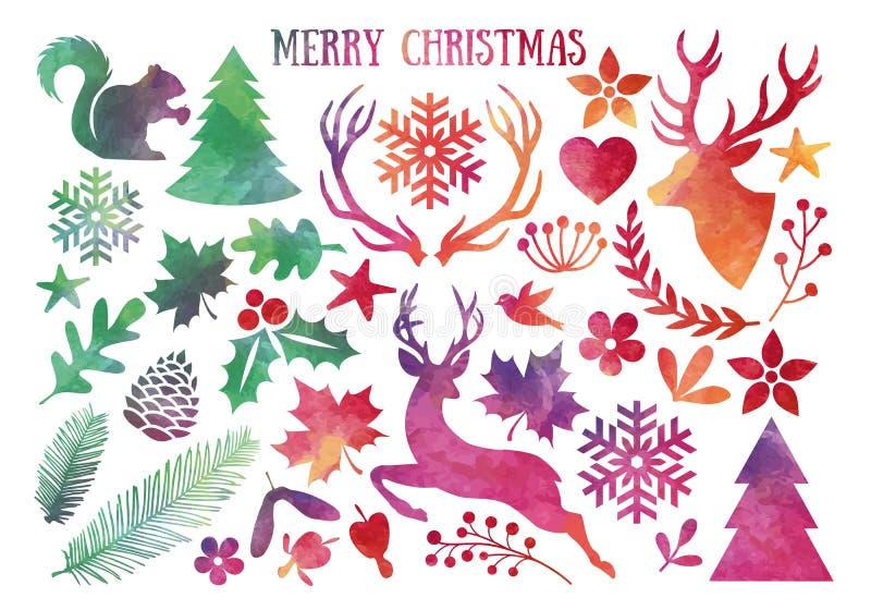 La Navidad de la acuarela, sistema del vector stock de ilustración