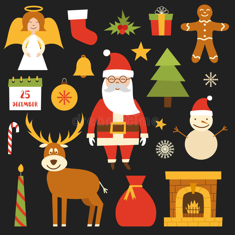 La Navidad de la historieta del vector, iconos del Año Nuevo ilustración del vector