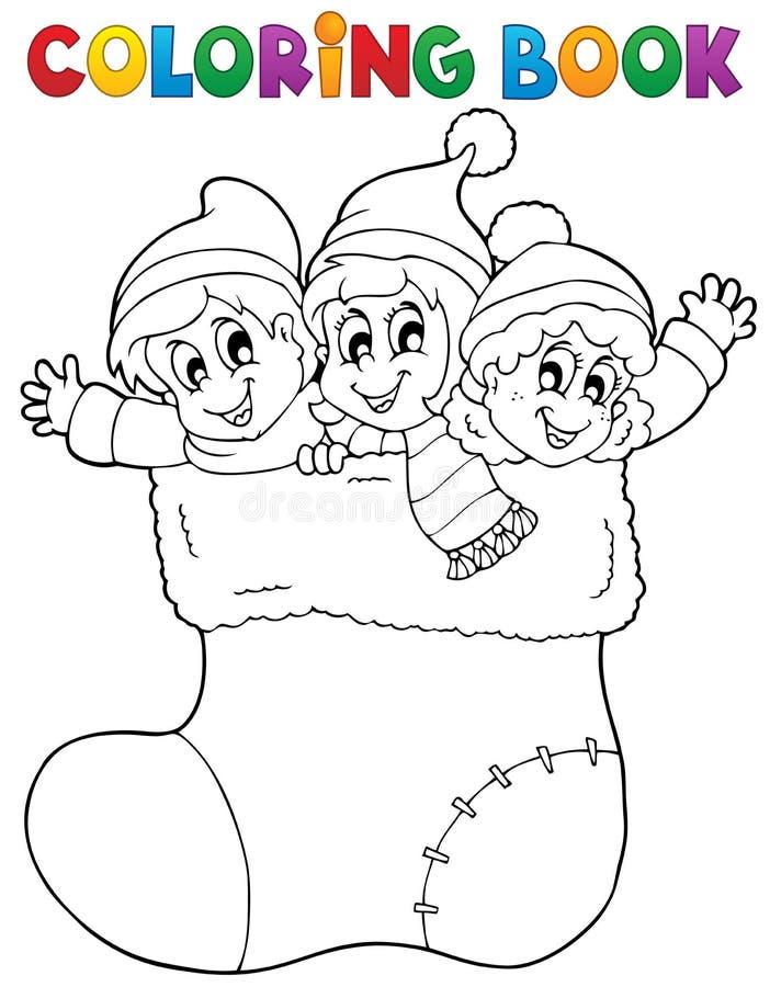 La Navidad 1 de la imagen del libro de colorear stock de ilustración