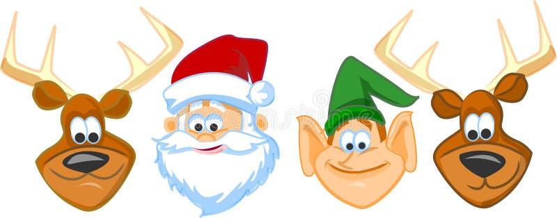 La Navidad de la tarjeta de felicitación con los ciervos ilustración del vector
