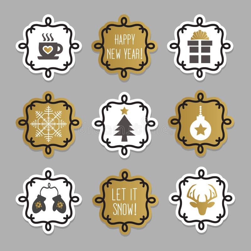 La Navidad de moda y linda y etiquetas y etiquetas engomadas del invierno fijadas stock de ilustración