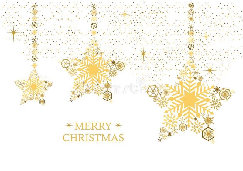La Navidad de oro protagoniza con los copos de nieve en un fondo blanco Ho ilustración del vector