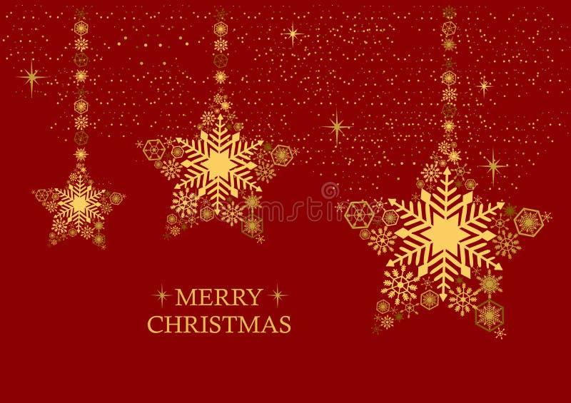 La Navidad de oro protagoniza con los copos de nieve en un fondo rojo Holi stock de ilustración