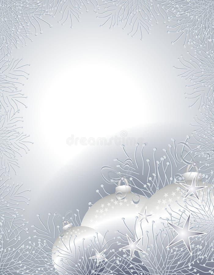La Navidad de plata adorna la frontera o el marco stock de ilustración