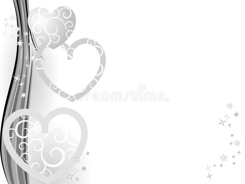 La Navidad de plata con los corazones ilustración del vector