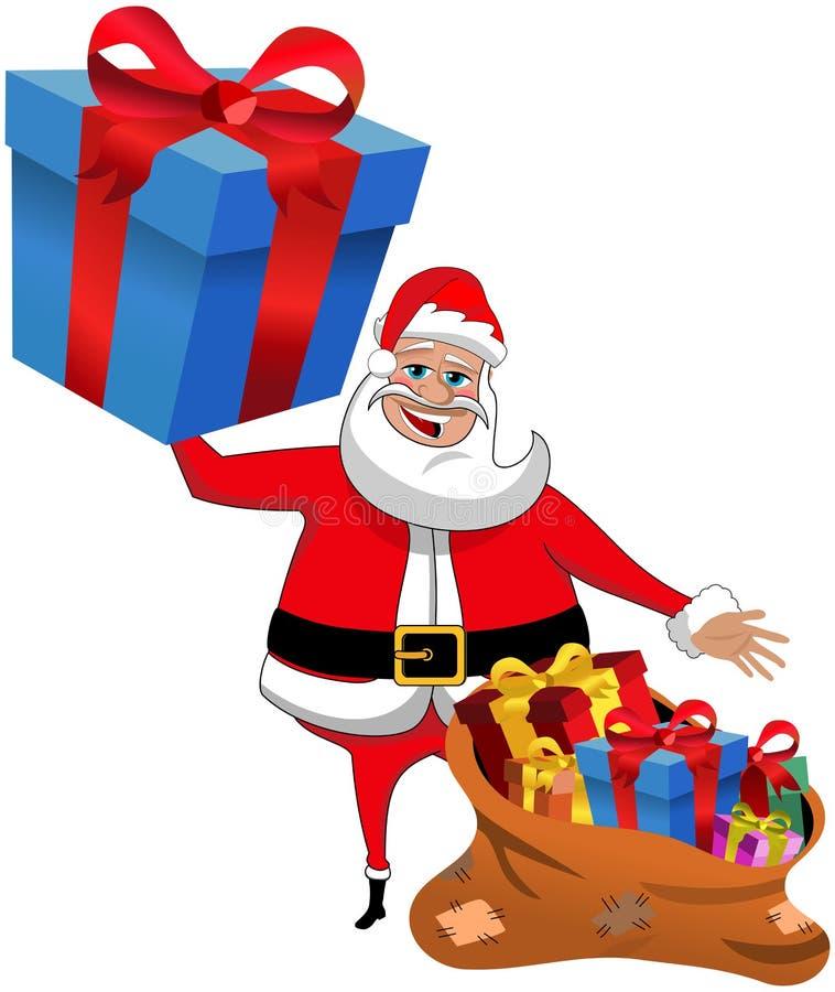 La Navidad de Santa Claus Big Gift Gifts Sack aislada stock de ilustración