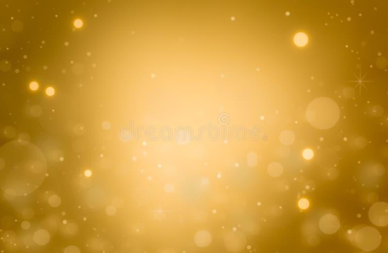 La Navidad defocused de la textura del brillo del bokeh abstracto del oro con el fondo ligero del bokeh ilustración del vector