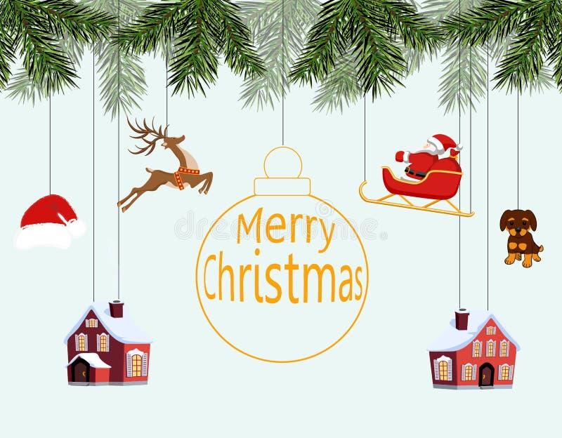 La Navidad del Año Nuevo Diversos juguetes que cuelgan en las ramas spruce, Papá Noel en el trineo, sombrero de Papá Noel, ciervo ilustración del vector
