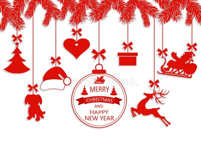 La Navidad del Año Nuevo Diversos ornamentos que cuelgan en ramas spruce, un sombrero de Papá Noel, un reno, un corazón, un regal ilustración del vector