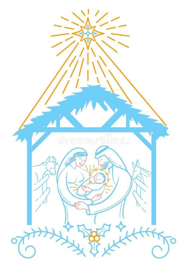 La Navidad del ejemplo de la escena de la biblia ilustración del vector