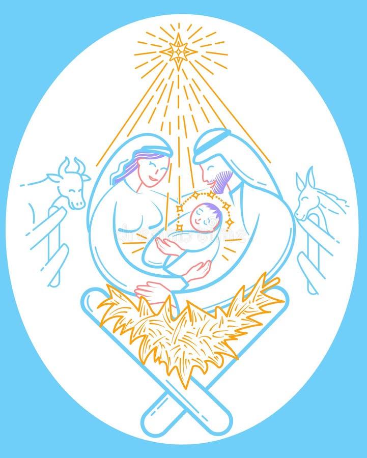 La Navidad del ejemplo de la escena de la biblia de Cristo libre illustration