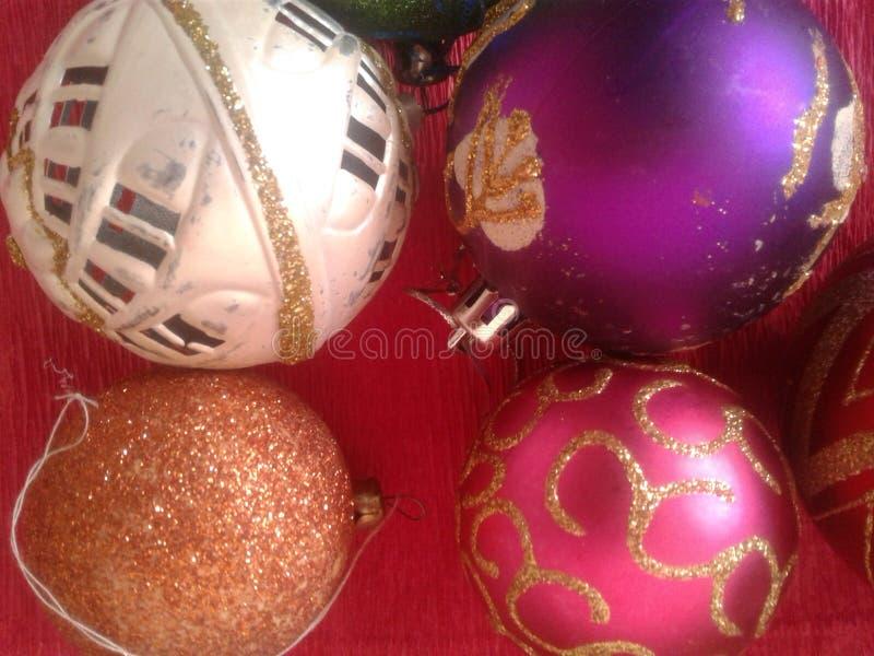 La Navidad del fondo juega decoraciones foto de archivo