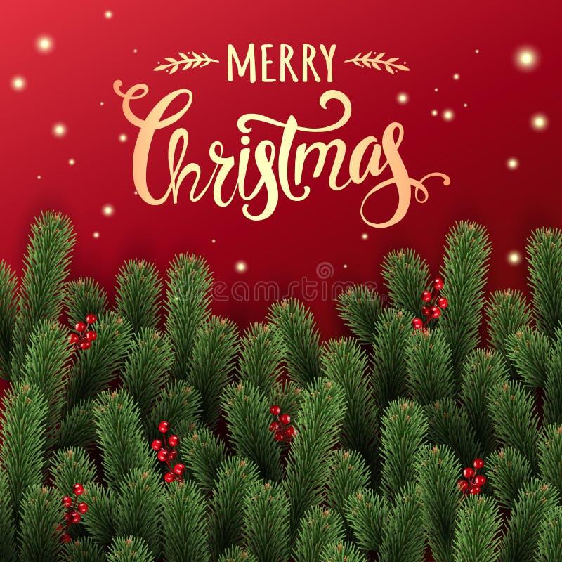 La Navidad del oro tipográfica en fondo brillante rojo con las ramas del abeto, bayas, luces, estrellas libre illustration