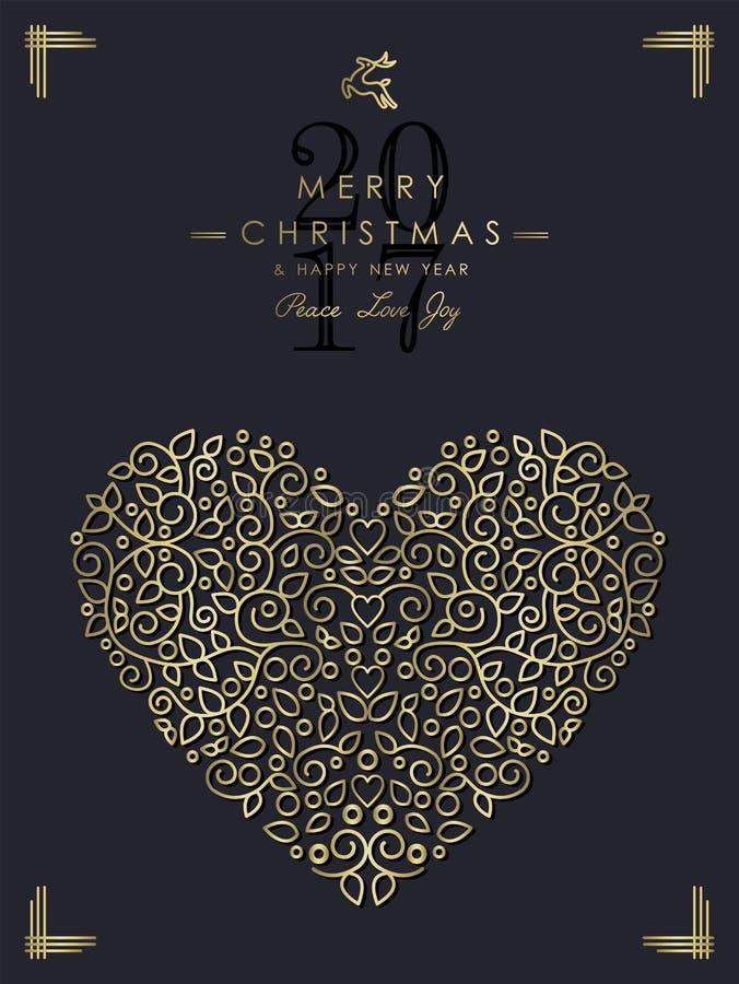 La Navidad del oro y arte ornamental del corazón del Año Nuevo stock de ilustración