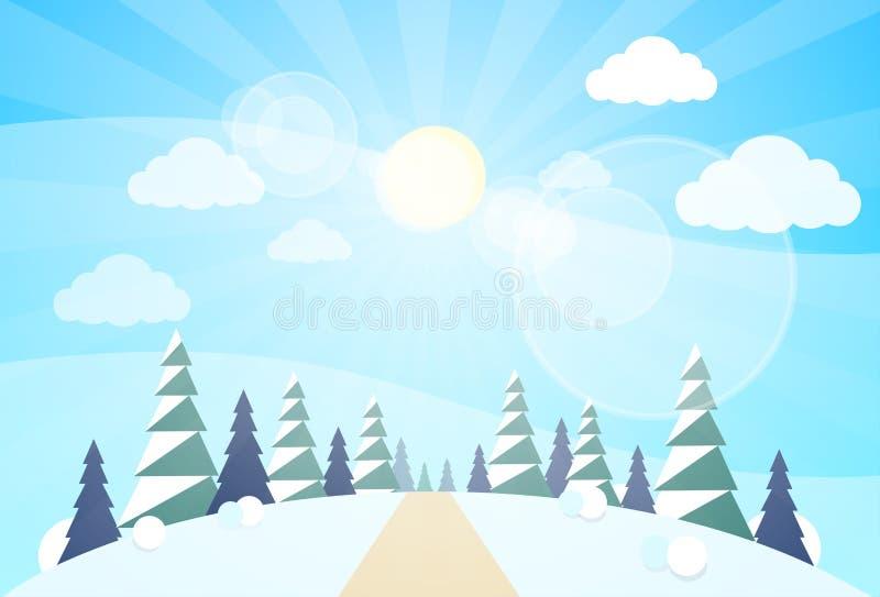 La Navidad del paisaje del bosque del invierno, árboles de la nieve del pino libre illustration