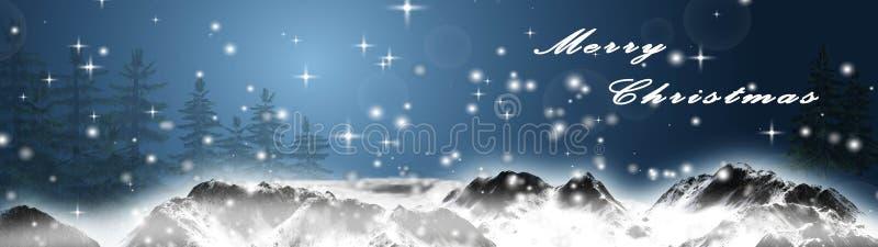 La Navidad del panorama - montañas nevosas y texto de la Feliz Navidad ilustración del vector