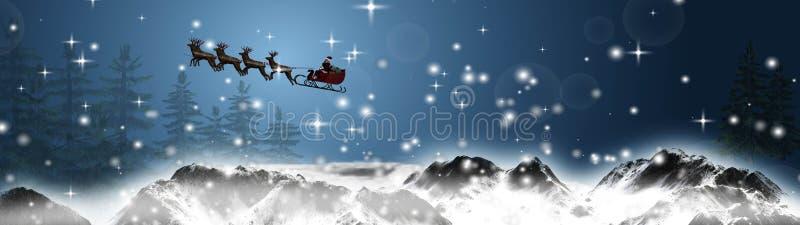 La Navidad del panorama - Papá Noel está volando con el trineo y los renos sobre las montañas nevosas ilustración del vector