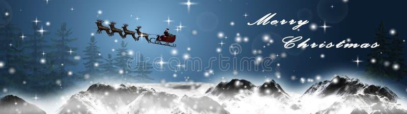 La Navidad del panorama - Papá Noel está volando con el trineo y los renos sobre la montaña nevosa ilustración del vector