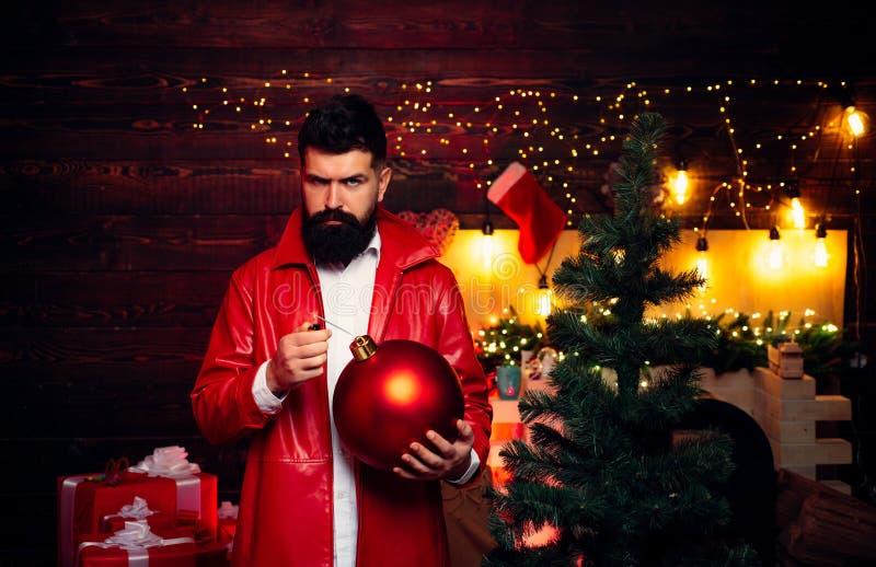 La Navidad del partido Pap? Noel divertido Santa divertido desea Feliz Navidad y Feliz A?o Nuevo Espacio de la copia del texto de imagen de archivo