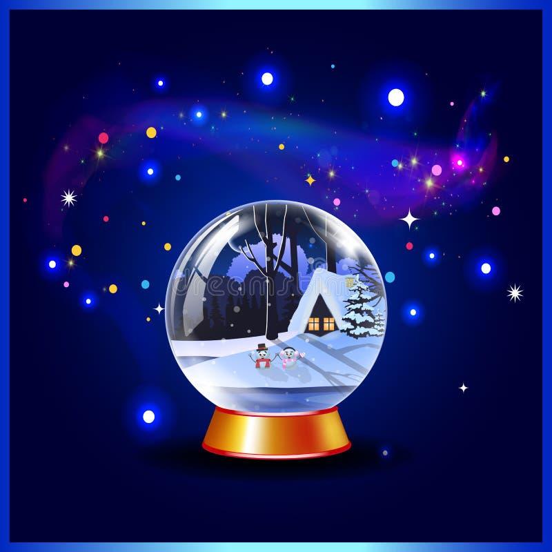 La Navidad del vector o ejemplo del Año Nuevo del globo y de las chispas cristalinos de la nieve libre illustration