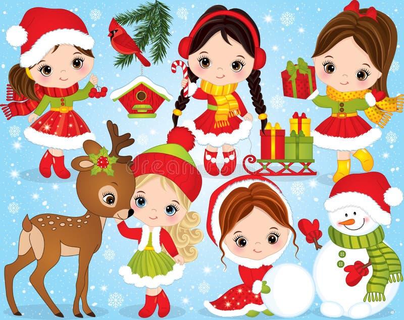 La Navidad del vector y Año Nuevo fijados con las niñas lindas y los elementos festivos del invierno stock de ilustración