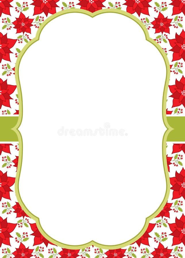 La Navidad del vector y plantilla de la tarjeta de felicitación del Año Nuevo con un marco en fondo de la poinsetia stock de ilustración