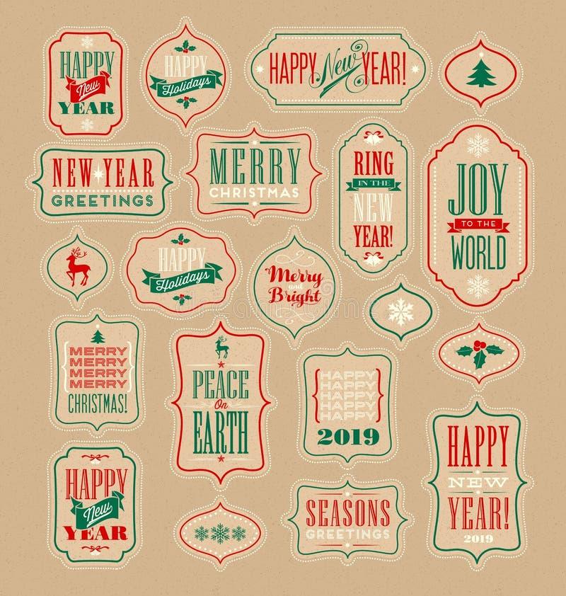 La Navidad del vintage y Años Nuevos de etiquetas y etiquetas engomadas del regalo stock de ilustración