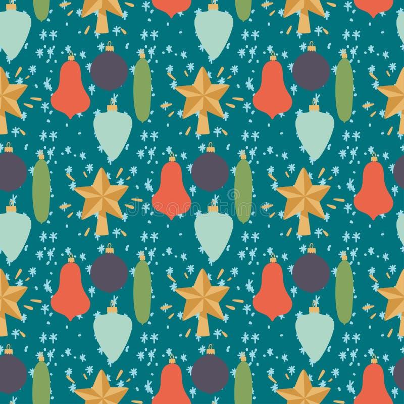 La Navidad dibujada mano inconsútil de la decoración del papel pintado del día de fiesta del estilo del diseño de tarjeta del Año ilustración del vector