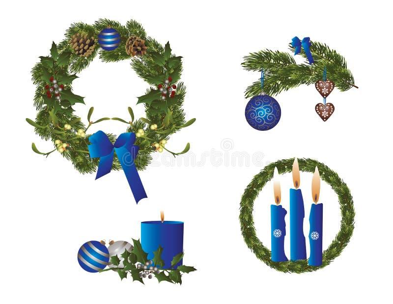 La Navidad en azul ilustración del vector