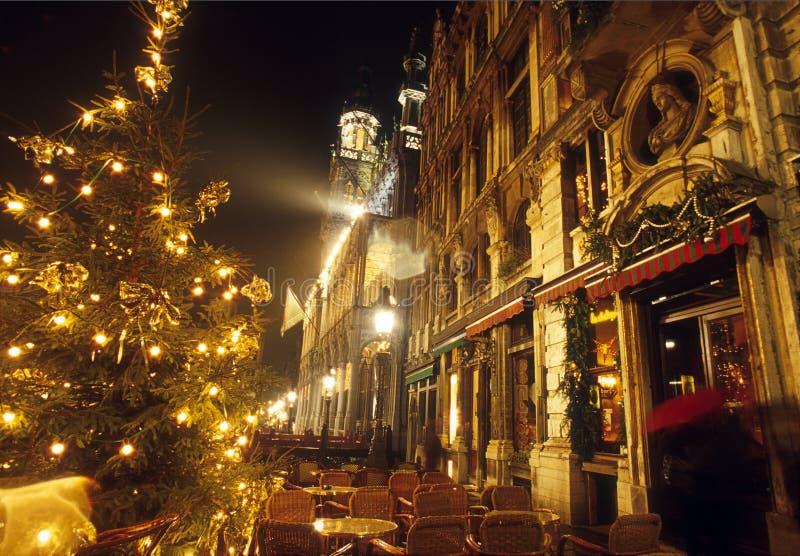 La Navidad en el lugar magnífico en Bruselas fotografía de archivo libre de regalías