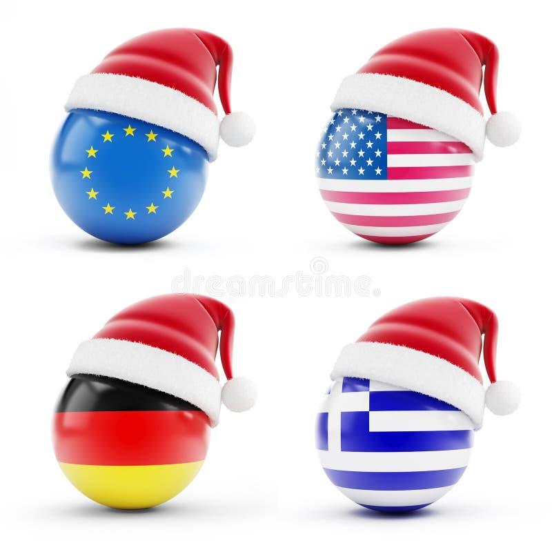 La Navidad en Grecia, Alemania, los E.E.U.U., europeos ilustración del vector