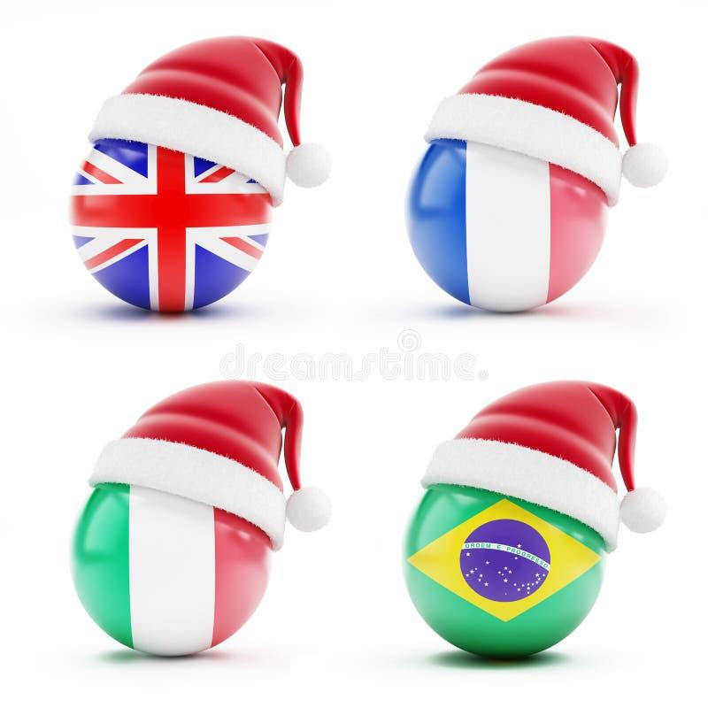 La Navidad en Inglaterra, Italia, el Brasil, Francia ilustración del vector