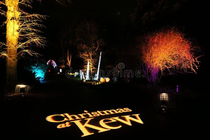 La Navidad en Kew es un mágico rastro de luz a través de Kew Gardens haciendo el perfecto evento festivo de la noche de invierno imagen de archivo
