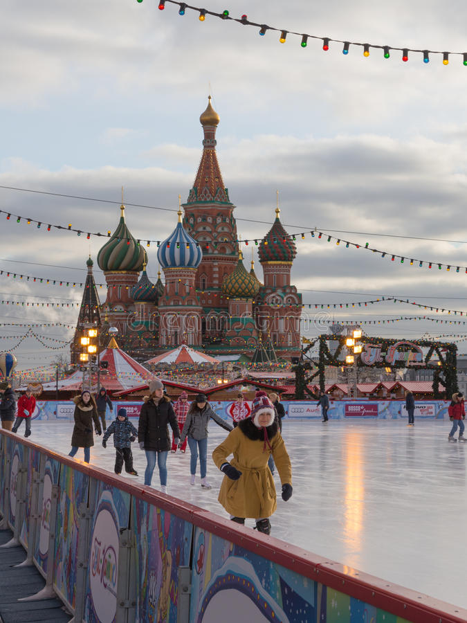 La Navidad en la pista en Moscú fotos de archivo libres de regalías