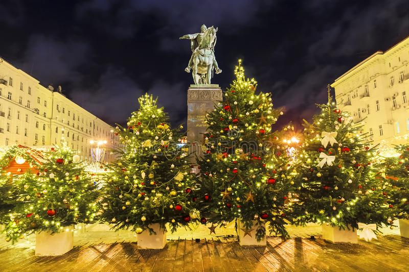 La Navidad en Moscú Cuadrado de Tverskaya en Moscú La inscripción fotografía de archivo