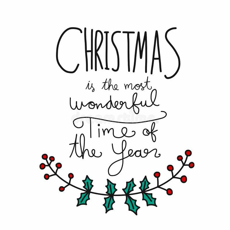 La Navidad es la época más maravillosa del ejemplo de las letras de la palabra del año libre illustration