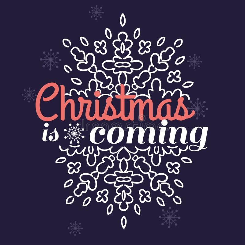 La Navidad es tarjeta que viene con el ornamento del copo de nieve ilustración del vector