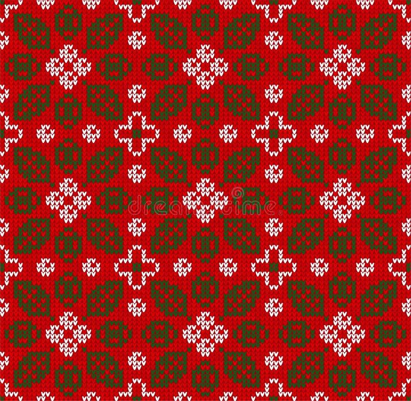 La Navidad escandinava del invierno hizo punto el modelo floral inconsútil del fondo Deja bayas imagenes de archivo