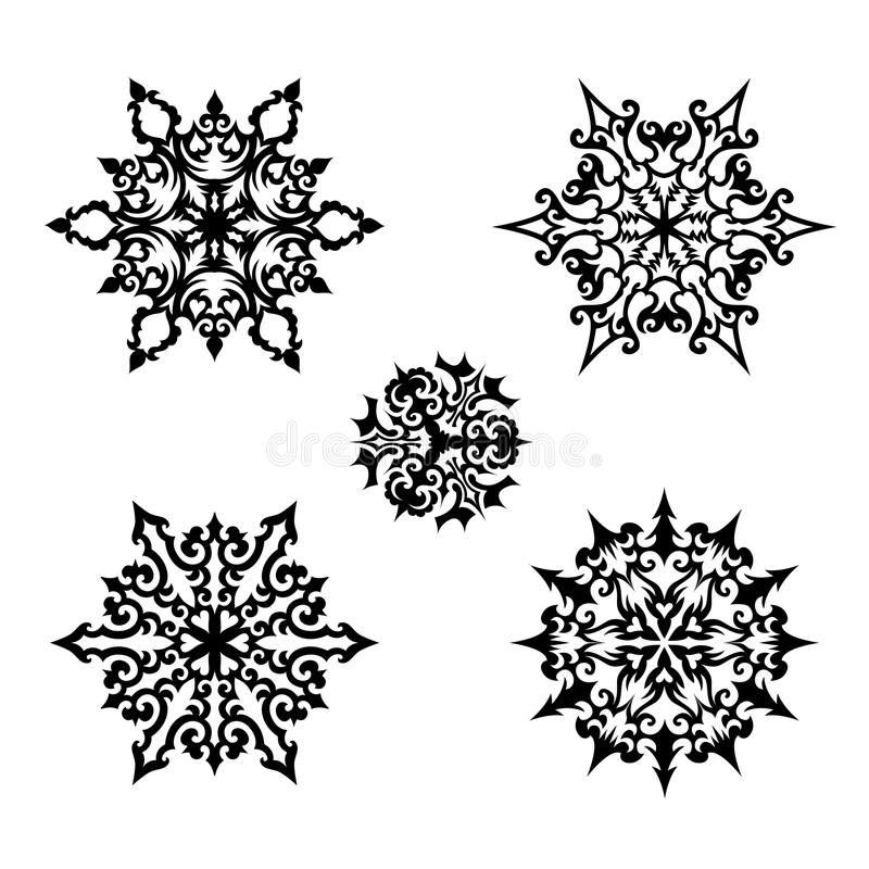 La Navidad fijada: copos de nieve decorativos del vector ilustración del vector